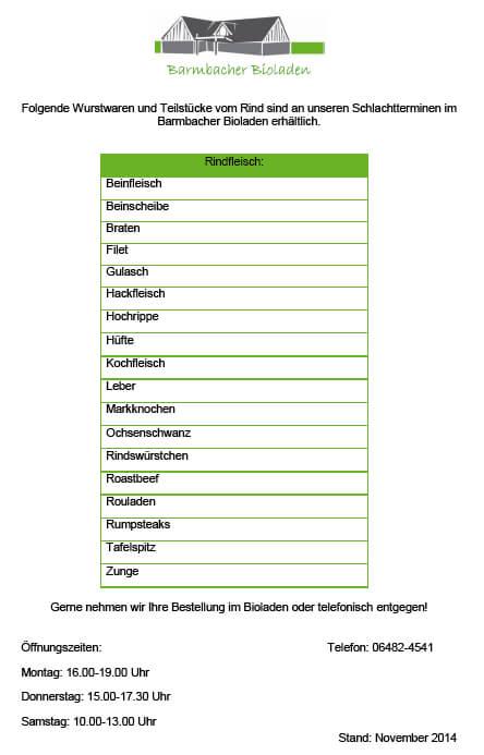 Liste Rindfleisch