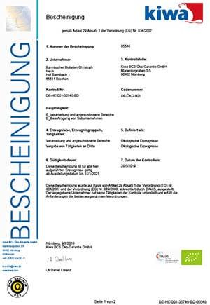 Barmbacher Bioladen BIO-Zertifikat